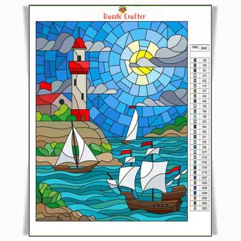 LIGHTHOUSE & BOATS Diamond Painting Kit - DAZZLE CRAFTER