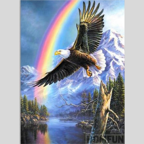 Image of FLYING EAGLE UNDER RAINBOW Diamond Painting Kit - DAZZLE CRAFTER