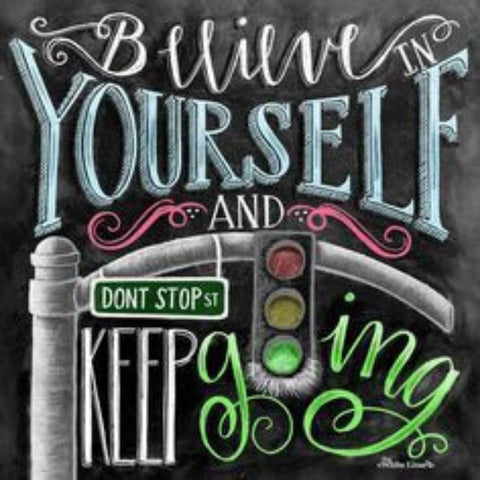CHALKBOARD QUOTES - BELIEVE YOURSELF Diamond Painting Kit - DAZZLE CRAFTER