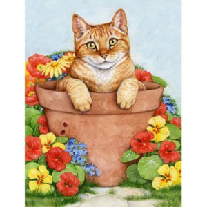 SWEETY CAT IN THE PLANTER POT Diamond Painting Kit - DAZZLE CRAFTER