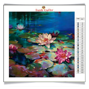 LOTUS UNDER MOONLIGHT Diamond Painting Kit - DAZZLE CRAFTER