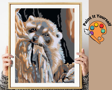 Image of LITTLE RACCOON  - DIY Adult Paint By Number Kit