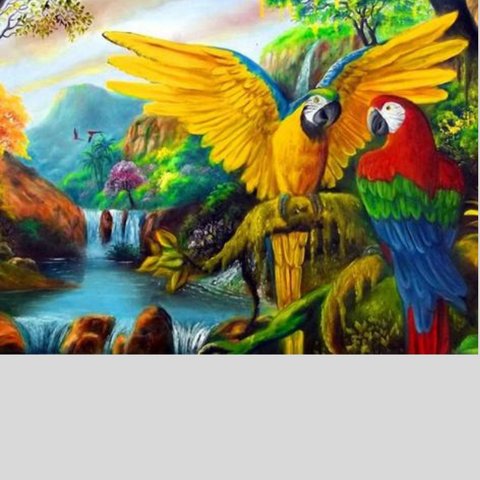 Image of PARROTS IN NATURE Diamond Painting Kit - DAZZLE CRAFTER