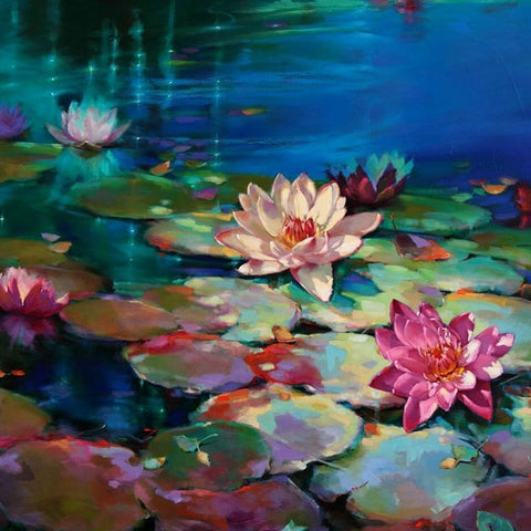 Image of LOTUS UNDER MOONLIGHT Diamond Painting Kit - DAZZLE CRAFTER