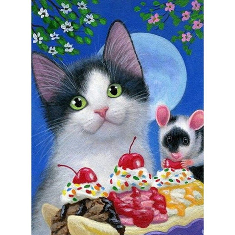 Image of CAT ENJOYS CUPCAKES Diamond Painting Kit - DAZZLE CRAFTER