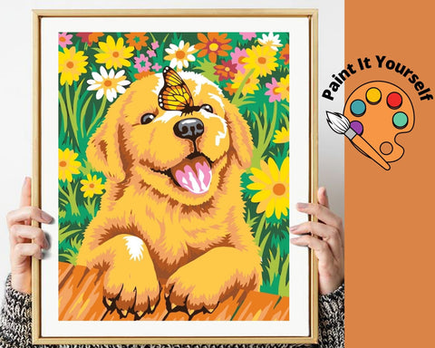 Image of CUTE GOLDEN RETRIEVER IN THE GARDEN - DIY Adult Paint By Number Kit