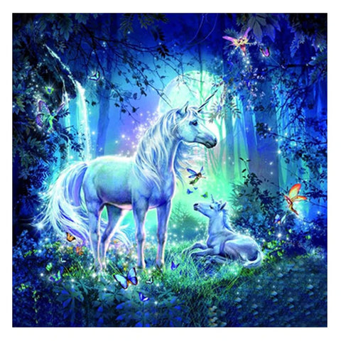 Image of BLUE UNICORN IN THE FOREST Diamond Painting Kit - DAZZLE CRAFTER