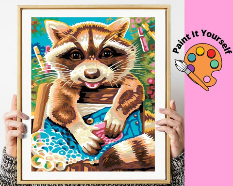 Image of CUTE LITTLE RACCOON - DIY Adult Paint By Number Kit