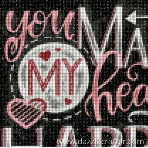 Image of CHALKBOARD QUOTES - YOU MAKE MY HEART HAPPY  Diamond Painting Kit - DAZZLE CRAFTER