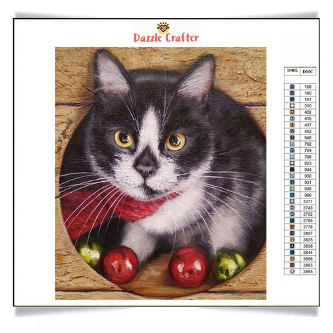 Image of CAT WITH CHRISTMAS POMPOMS Diamond Painting Kit - DAZZLE CRAFTER