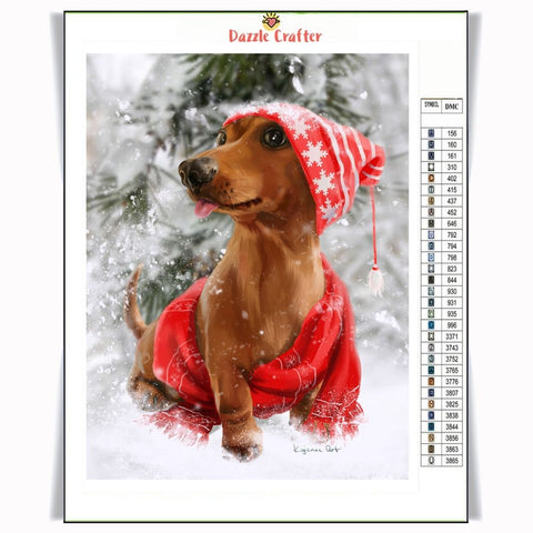 Image of DOG IN WINTER Diamond Painting Kit