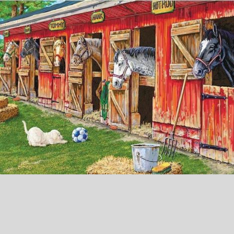 Image of HORSES IN THE STABLE Diamond Painting Kit - DAZZLE CRAFTER