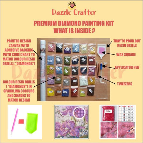 Image of CAT IN THE GARDEN  Diamond Painting Kit - DAZZLE CRAFTER