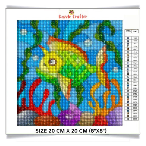 Image of BABY FISH IN THE DEEP SEA Diamond Painting Kit - DAZZLE CRAFTER