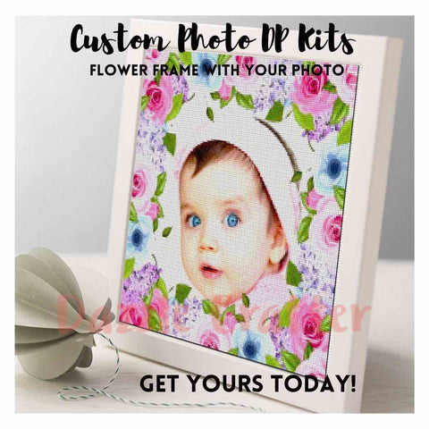 Image of CUSTOM PHOTO WITH ROSE & LAVENDER FLOWER FRAME - MAKE YOUR OWN DIAMOND PAINTING