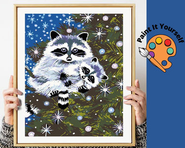RACCOON IN THE SNOW - DIY Adult Paint By Number Kit