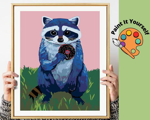 Image of RACCOON EATING DOUGHNUT - DIY Adult Paint By Number Kit