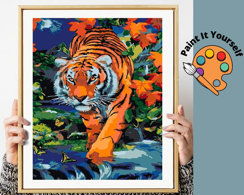 Image of TIGER IN THE JUNGLE  - DIY Adult Paint By Number Kit