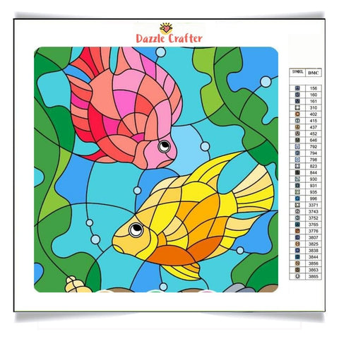 HAPPY COLORFUL FISHES Diamond Painting Kit - DAZZLE CRAFTER