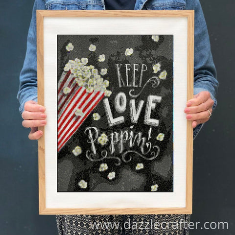 Image of CHALKBOARD QUOTES - KEEP LOVE POPPING Diamond Painting Kit - DAZZLE CRAFTER