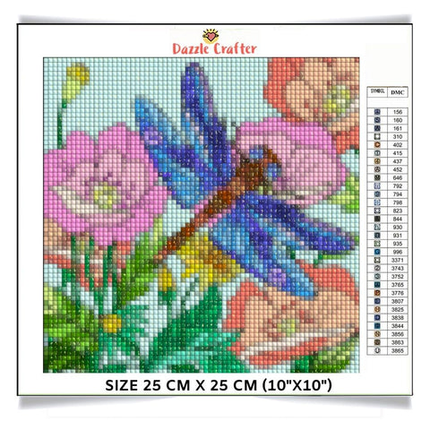 DRAGONFLY IN THE GARDEN  Diamond Painting Kit - DAZZLE CRAFTER