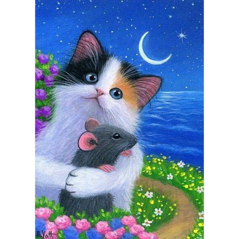 Image of CAT GAZING AT THE MOON Diamond Painting Kit - DAZZLE CRAFTER