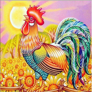 ROOSTER WITH MULTICOLOR FEATHERS Diamond Painting Kit - DAZZLE CRAFTER