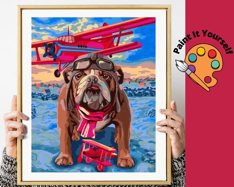Image of BULL DOG WITH RED AIRPLANE - DIY Adult Paint By Number Kit