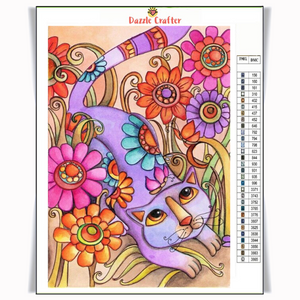 CAT IN THE GARDEN Diamond Painting Kit - DAZZLE CRAFTER