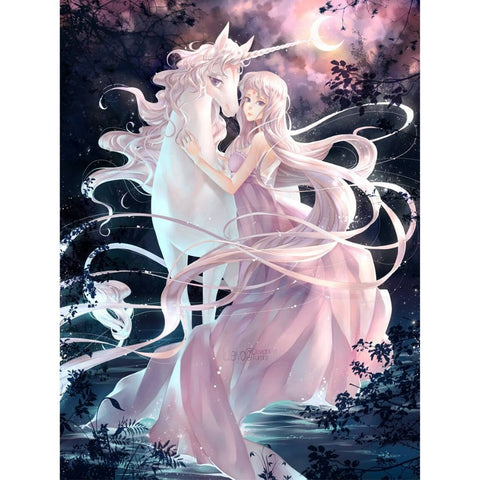Image of PRETTY GIRL WITH UNICORN Diamond Painting Kit - DAZZLE CRAFTER