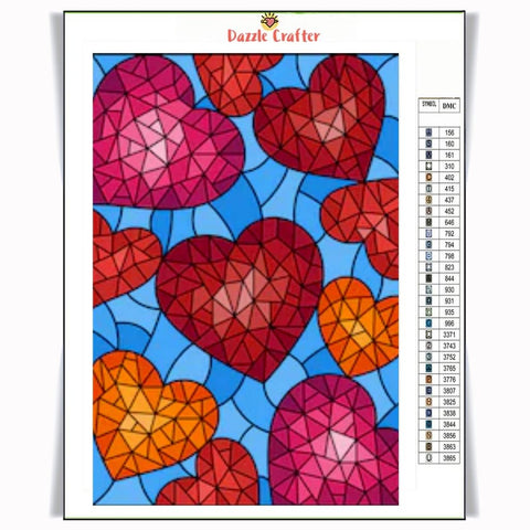 Image of FALLING HEARTS & DIAMONDS Diamond Painting Kit - DAZZLE CRAFTER