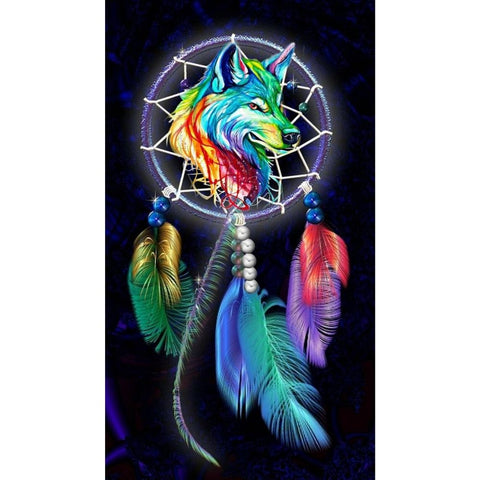VIBRANT COLOR WOLF DREAMCATCHER Diamond Painting Kit - DAZZLE CRAFTER