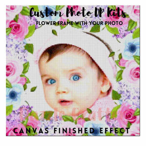CUSTOM PHOTO WITH ROSE & LAVENDER FLOWER FRAME - MAKE YOUR OWN DIAMOND PAINTING