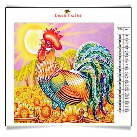 Image of ROOSTER WITH MULTICOLOR FEATHERS Diamond Painting Kit - DAZZLE CRAFTER
