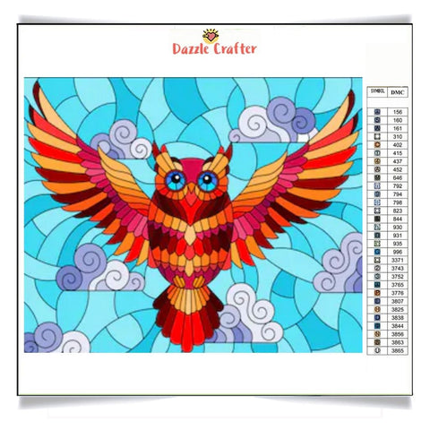 Image of OWL IN FLIGHT  Diamond Painting Kit - DAZZLE CRAFTER