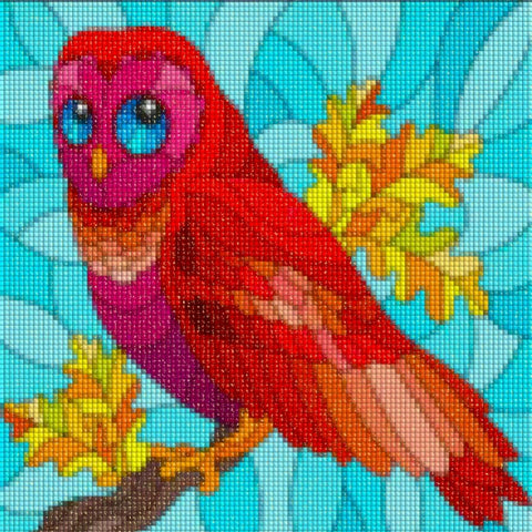 GAZING RED OWL Diamond Painting Kit - DAZZLE CRAFTER
