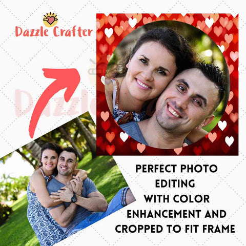 Image of CUSTOM PHOTO WITH VALENTINE HEART FRAME - MAKE YOUR OWN DIAMOND PAINTING