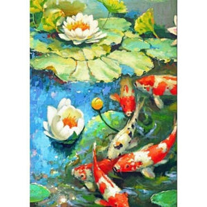 LILY WITH KOI FISH Diamond Painting Kit