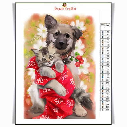 Image of DOG AND KITTY Diamond Painting Kit