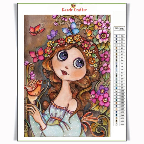 Image of PRETTY BUTTERFLY GIRL Diamond Painting Kit
