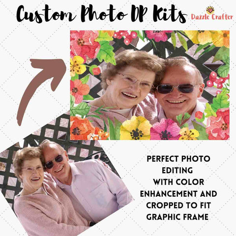 Image of CUSTOM PHOTO WITH TROPICAL FLOWER FRAME - MAKE YOUR OWN DIAMOND PAINTING