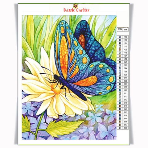 Image of DAHLIA BUTTERFLY Diamond Painting Kit - DAZZLE CRAFTER