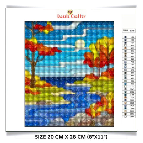 Image of FLOWING RIVER IN FALL Diamond Painting Kit - DAZZLE CRAFTER