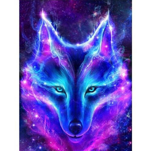 Image of NEON BLUE WOLF Diamond Painting Kit