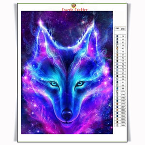 NEON BLUE WOLF Diamond Painting Kit