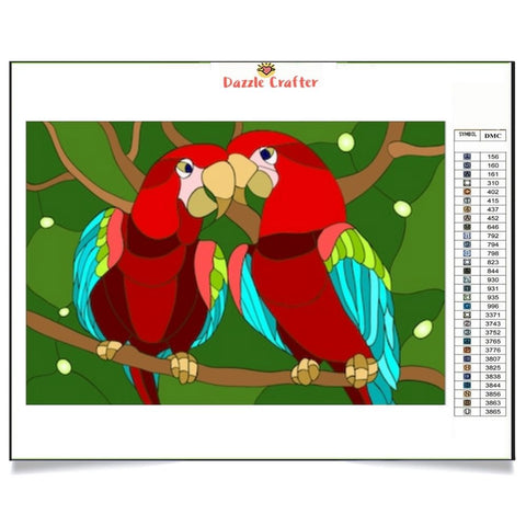 Image of LOVING PARROTS Diamond Painting Kit - DAZZLE CRAFTER
