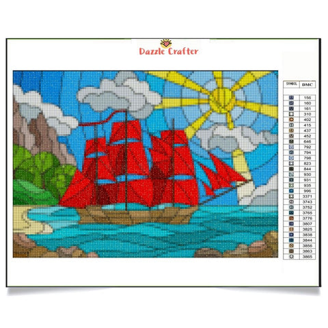 Image of RED SAILS Diamond Painting Kit
