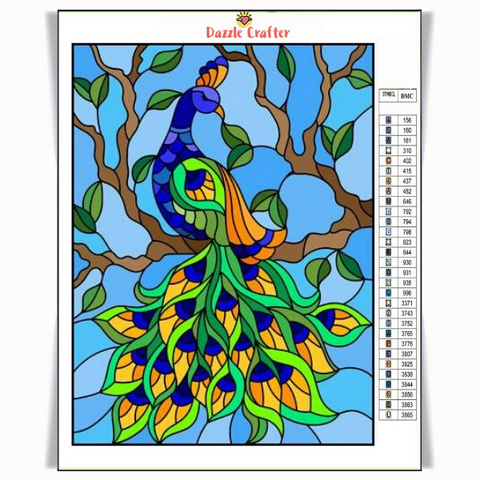 STAINED GLASS PEACOCK Diamond Painting Kit
