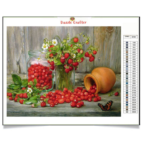 Image of STRAWBERRIES ON THE TABLE  Diamond Painting Kit - DAZZLE CRAFTER