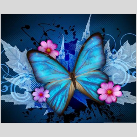 Image of BLUE BUTTERFLY Diamond Painting Kit - DAZZLE CRAFTER